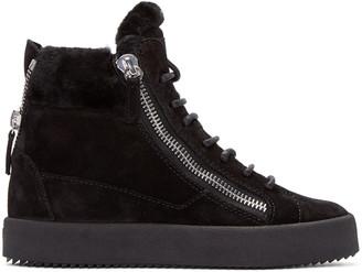 Giuseppe Zanotti Black Suede London High-Top Sneakers $765 thestylecure.com