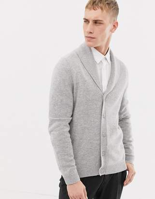 Asos DESIGN lambswool shawl cardigan in light gray