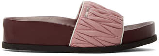 Miu Miu Pink and Burbundy Quilted Platform Sandals