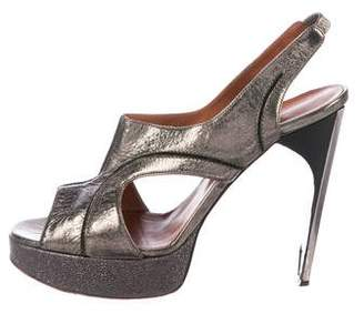 Lanvin Distressed Leather Platform Sandals