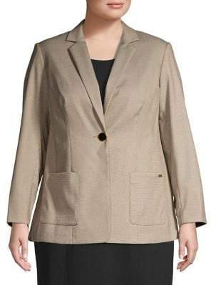 Calvin Klein Plus Textured Long-Sleeve Blazer