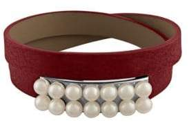 Majorica New Isla 6MM White Pearl & Leather Bracelet