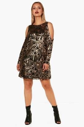 boohoo Plus Open Shoulder Pattern Sequin Dress