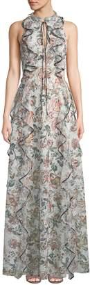 Sachin + Babi Sophie Floral-Print Ruffle Gown