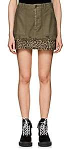 R 13 Women's Fatigue Washed Cotton Canvas Miniskirt-Olive