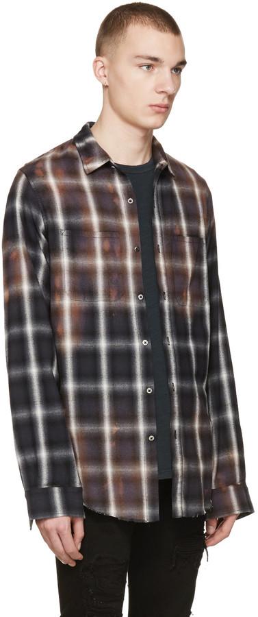 Amiri Black Spray Plaid Shirt 4