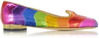 Charlotte Olympia Snake Print Rainbow Kitty Flat Ballerinas