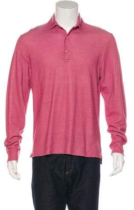 Isaia Silk-Blend Long Sleeve Polo Shirt