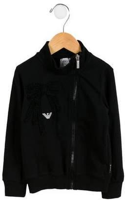 Armani Junior Girls' Ruffle-Accented Zip-Up Sweatshirt