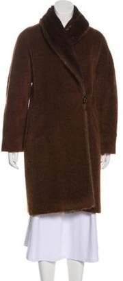 Max Mara Mink Fur-Trimmed Wool Coat Brown Mink Fur-Trimmed Wool Coat