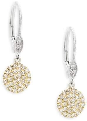 Meira T Women's Pavé Diamond Disc Gold Drop Earrings