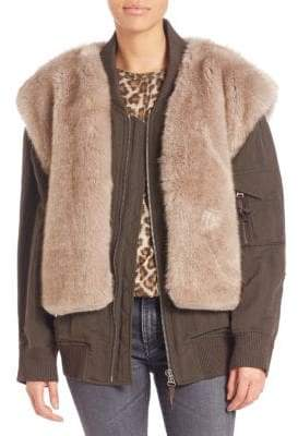 Helmut Lang Two-In-One Faux Fur Vest & Bomber Jacket