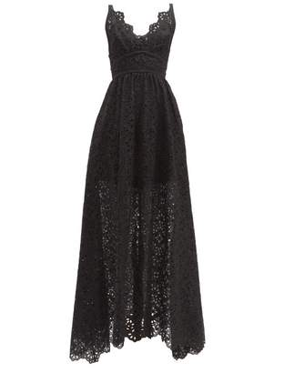 Elie Saab Broderie Anglaise Cotton Blend Gown - Womens - Black