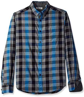 Kenneth Cole Reaction Men's Long Sleeve Button Down Collar with 1 Pocket Flannel