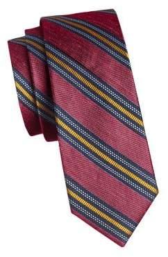 The Tie Bar Striped Silk Linen Slim Tie