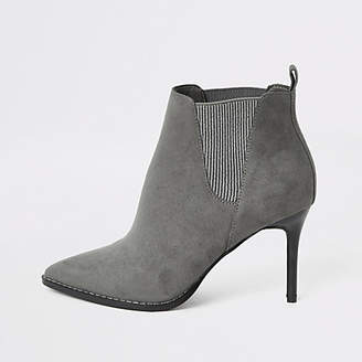 River Island Grey pointed heeled wide fit ankle boots