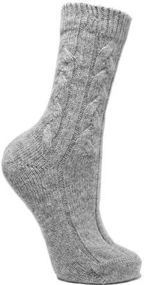Johnstons of Elgin Cable-knit Cashmere Socks - Gray