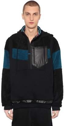 Facetasm Hooded Wool & Jersey Zip Teddy Jacket