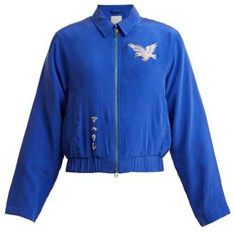 MHI Eagle Embroidered Silk Jacket - Womens - Blue