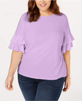 INC International Concepts I.n.c. Plus Size Ruffle-Sleeve Top