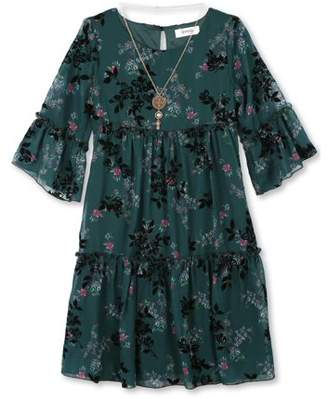 Lots of Love by Speechless Flocked Chiffon Dress with Necklace (Big Girls)