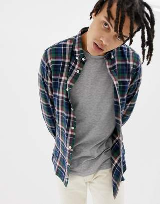 Penfield Barhead multi flannel check buttondown regular fit shirt in navy/green