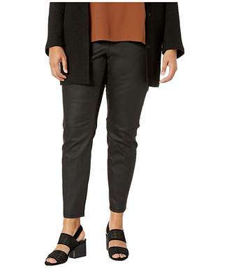 Eileen Fisher Plus Size Coated Organic Cotton Stretchy Denim Leggings in Black