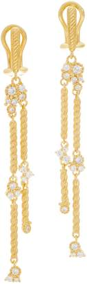 Judith Ripka Sterling or 14K Gold Clad Diamonique Earrings