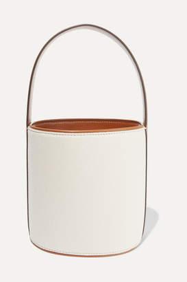 STAUD Bissett Leather-trimmed Canvas Bucket Bag - Cream