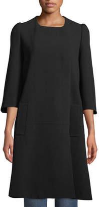 Co Flare-Sleeve Hidden-Placket Swing Coat