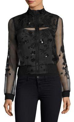 Elie Tahari Suri Beaded Silk Organza Bomber Jacket $398 thestylecure.com