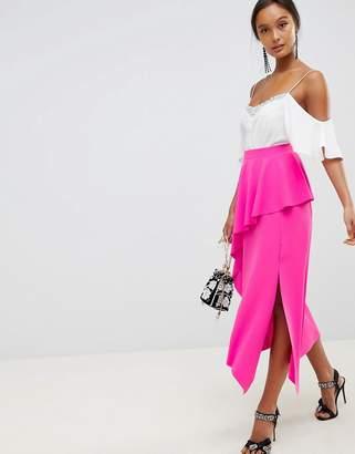 Asos Design DESIGN midi skirt with asymmetric hem