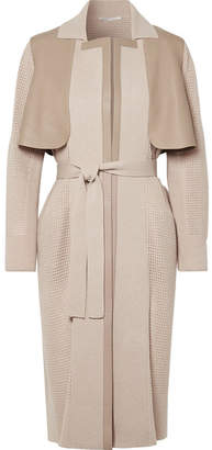 Agnona Leather-paneled Cashmere Coat - Beige