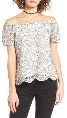 Women's Wayf Lace Off The Shoulder Top $65 thestylecure.com