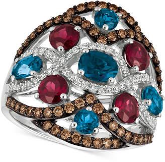 LeVian Le Vian® Blue Topaz, Raspberry Rhodolite® Garnet and Diamond (3-1/6 ct. t.w.) Ring in 14k White Gold, Created for Macy's