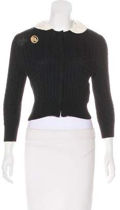 Leur Logette Cable Knit Lace-Accented Sweater