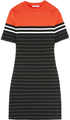 T by Alexander Wang - Striped Stretch-cotton Ponte Mini Dress - Orange $215 thestylecure.com