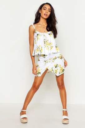 boohoo Floral Ruffle Detail Cami & Wrap Mini Skirt Co-Ord