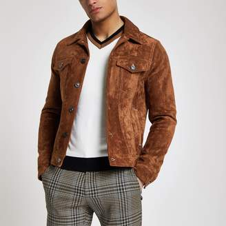 Mens Brown faux suede western jacket