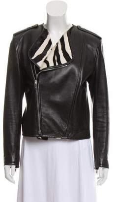 Saint Laurent Leather Ponyhair-Trimmed Jacket