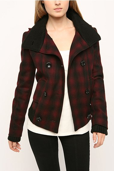 BDG Plaid Hooded Piped Bomber