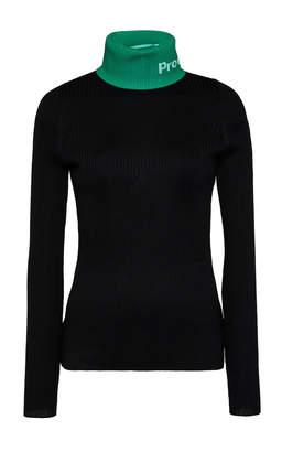 Proenza Schouler Pswl Logo-Intarsia Ribbed Cotton-Blend Turtleneck Sweater