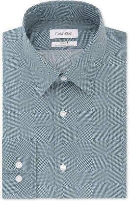 Calvin Klein Men Steel Slim-Fit Non-Iron Performance Stretch Print Dress Shirt