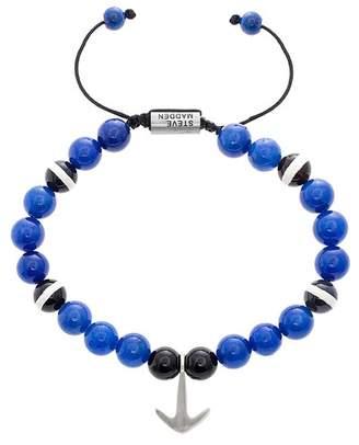 Steve Madden Anchor Charm Glass Beaded Adjustable Bracelet