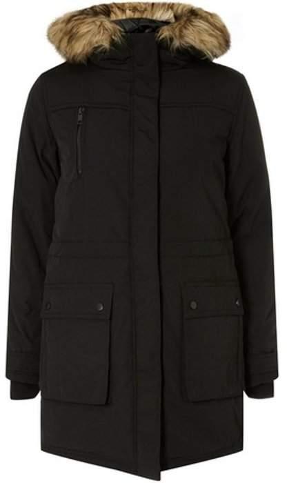 Womens Black Faux Fur Parka Coat