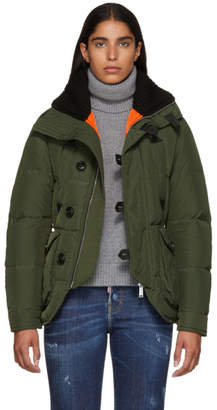 DSQUARED2 Green Ribbed Collar Puffer Jacket
