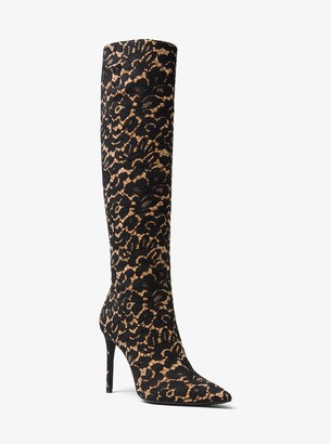 Michael Kors Vesey Floral Lace and Suede Boot