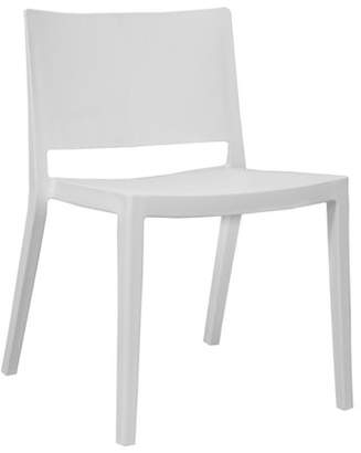 Mod Made Elio Modern Plastic Dining Side Chair- Set of 2 (White)