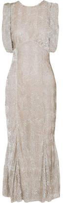 ATTICO Sequined Tulle Midi Dress - Silver