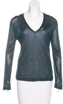 Gianni Versace Long Sleeve V-Neck Top